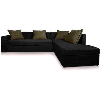 Adorn Homez CAIRO L-Shape-Left Fabric Sofa Set-Black-Grey