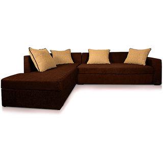 Adorn Homez CAIRO L-Shape-Left Fabric Sofa Set-Brown-Beige