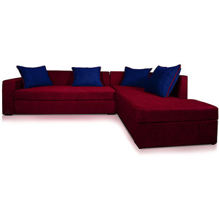 Adorn Homez CAIRO L-Shape-Left Fabric Sofa Set-Maroon-Nevy