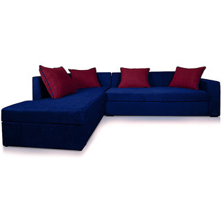 Adorn Homez CAIRO L-Shape-Left Fabric Sofa Set-Nevy-Maroon