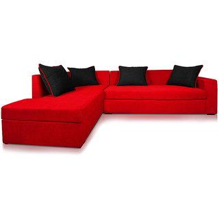 Adorn Homez CAIRO L-Shape-Right  Fabric Sofa Set-BRED-Black