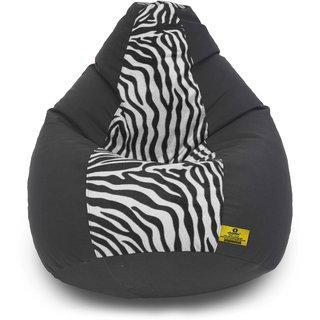 Adorn Homez XL Bean Bag-Zebra-With Bean/Filled