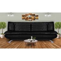 Elite Adorn Homez 3 Seater Sofa Bed Leatherrete-Black