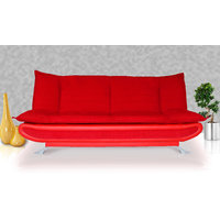 Elite Adorn Homez 3 Seater Sofa Bed Fabric-Leather-Red