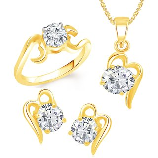 VK Jewels Gold Plated Alloy Ring & Pendant Set Combo for Women & Girls - COMBO1395G [VKCOMBO1395G]