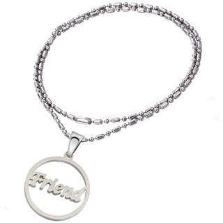 Men Style Friendship day Friends Gift Idea Silver Stainless Steel Round Necklace Pendant For Men And Women