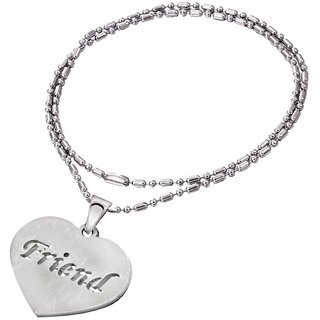 Men Style Engravable Polished Heart Friend Locket Silver Stainless Steel Round Necklace Pendant For Men And Women