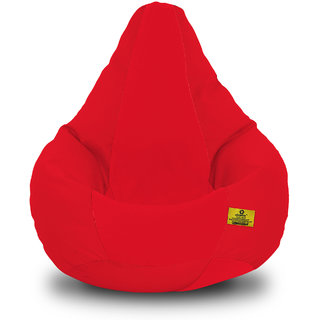 Adorn Homez XL Bean Bag-Red Cotton-With Bean/Filled