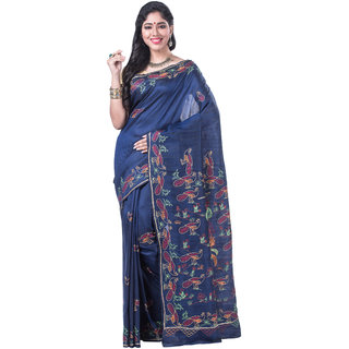 b50db933946093 Buy Navy Blue Pure Raw Silk Saree with Kantha Hand Embroidery Online - Get  25% Off