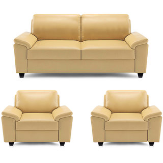 Fesselnd Adorn Homez Oxford Leatherette 2+1+1 Seater Sofa Set Beige