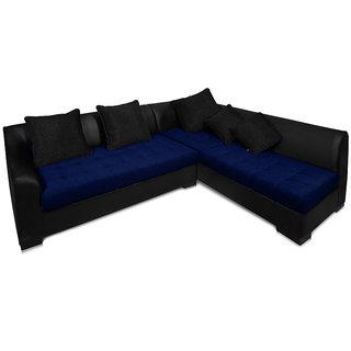 Adorn Homez L-Shape leather-Fabric Kingston Sofa Set-BLACK-NAVY-RIGHT