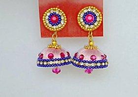 Silk thread jhumkha pink