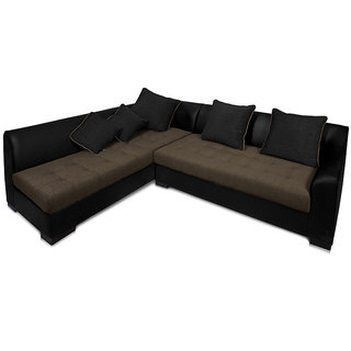 Adorn Homez L Shape Leather Fabric Kingston Sofa Set Black Grey