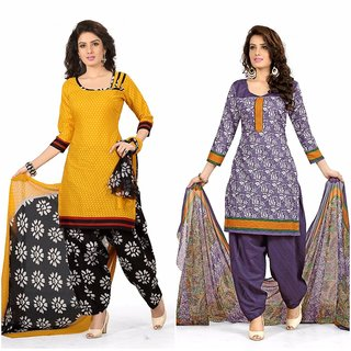 BanoRani Multicolor Printed Casual Polycotton Unstitched Kurti (Pack of 2)