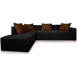 Adorn Homez CAIRO L-Shape-Right Fabric Sofa Set-Black-Brown