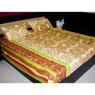 Looms Of India Brown  Yellow Bedsheet (BC-4014)