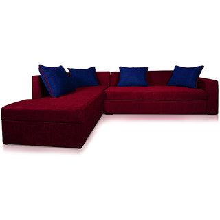 Adorn Homez CAIRO L-Shape-Right Fabric Sofa Set-Maroon-Nevy