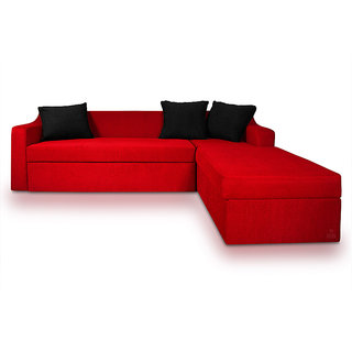 Adorn Homez Phoenix L Shape Left Fabric Sofa Bed Storage Red