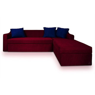 Adorn Homez PHOENIX L-Shape-Left  Fabric Sofa Bed-Storage-Maroon-Nevy