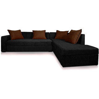 Adorn Homez CAIRO L-Shape Fabric Sofa Set With Left Side Storage-Black-Brown