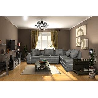 Adorn Homez CARDIFF L-Shape-Right Fabric Sofa-Grey