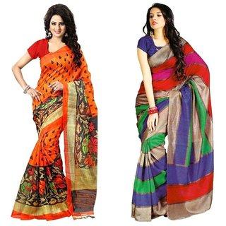 SVB Saree Multicolor Art Silk Block Print Saree With Blouse