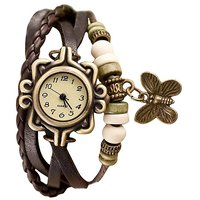 Brown Dial Multi Color Leather Analog Watch For Women