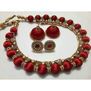 Silk Thread Necklace Set With Earrings For Women