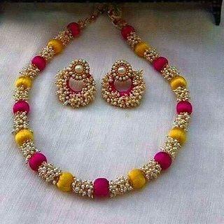 e3021131fe Buy Silk Thread Necklace Set With Earrings For Women Online @ ₹1100 ...