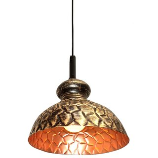 A&H  Black Color With Golden  Shading Geometrical Design Iron Pendant Hanging Lamp ( Pack of 1 )