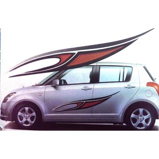 Set Car Graphics  Side Decal Body RedBlack Sticker For UNIVERSAL - Graphics for cars online