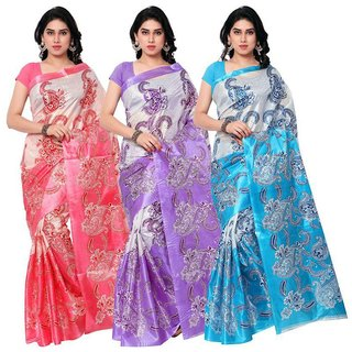 Pack of 3 SVB Saree Multicolor Art Silk Block Print Saree Without Blouse