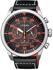 Citizen Black Leather Round Dial Quartz Watch For Men (