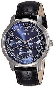 GUESS Black Leather Round Dial Quartz Watch For Men (W0