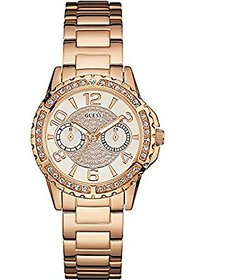 GUESS Rose Gold Metal Round Dial Chronograph Watch For