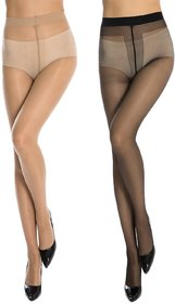 Kotton Labs Women 2 Pair Black And Skin Panty Hose Long Comfort Stockings