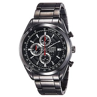 Seiko Chronograph Black Round Watch -SSB179P1