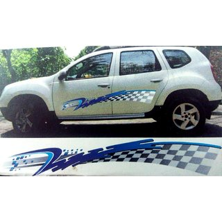 1 Set Car Graphics 2 Side Decal Body W Blue Sticker for UNIVERSAL CARS