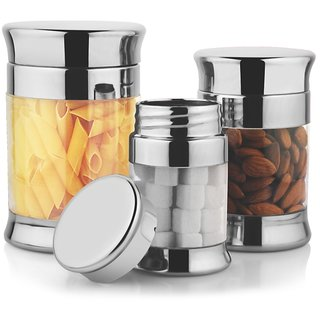 Jvl Fusion Stainless Steel Canister 3 Pcs