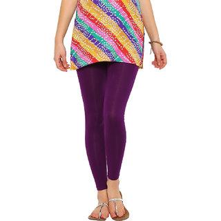 De Moza Ankle Length Dark Purple Solid Cotton Lycra