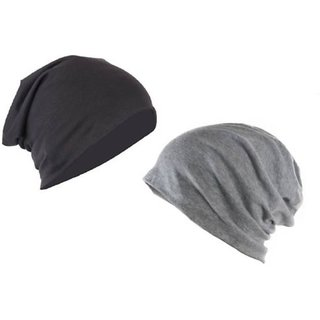 3cfb233ce5b Buy Combo pack of 2 black and grey beanie slouchy cap free size ...