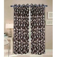 ILiv Anti Wrinkle Dark Brown Flower Curtain ( Set Of 2 ) - 9Ft