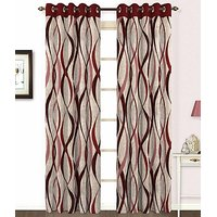 ILiv Maroon Jute Curtain ( Set Of 2 ) - 5Ft