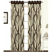 ILiv Brown Jute Curtain ( Set Of 2 ) - 7Ft