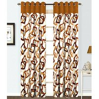 ILiv Brown Square Curtain ( Set Of 2 ) - 7Ft