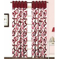 ILiv Maroon Square Curtain ( Set Of 2 ) - 9Ft