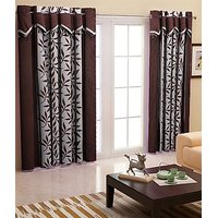 ILiv Brown Kolaveri V Curtain ( Set Of 2 ) - 9Ft