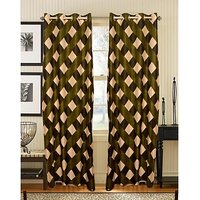 ILiv Green Box Curtain ( Set Of 2 ) - 9Ft