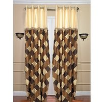 ILiv Brown Box Sl Curtain ( Set Of 2 ) - 9Ft
