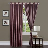 ILiv Brown Plain Bamboo Curtain ( Set Of 2 ) - 9Ft